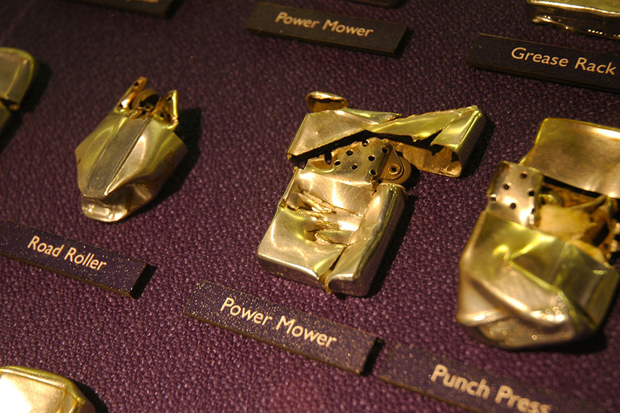 gold display lighters at the Zippo Museum