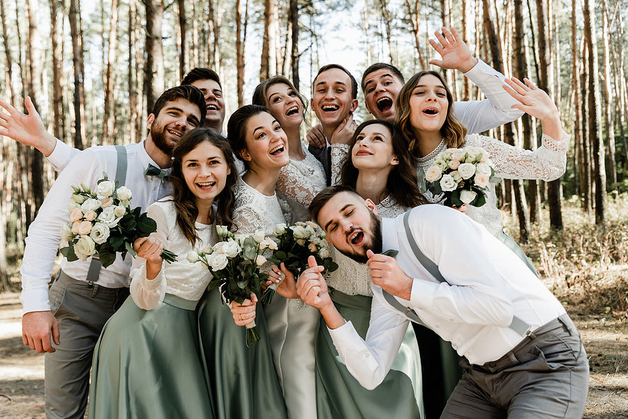 group of friends celebrating a wedding